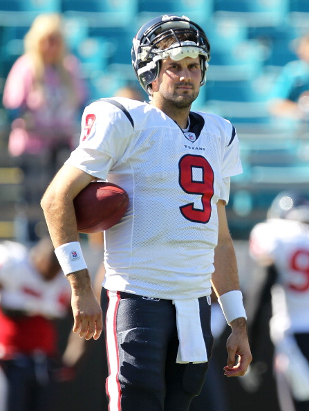 JACKSONVILLE, FL - NOVEMBER 14:  Matt Leinart #9 of the Houston Texans looks on before a game against the Jacksonville Jaguars at EverBank Field on November 14, 2010 in Jacksonville, Florida.  (Photo by Mike Ehrmann/Getty Images)