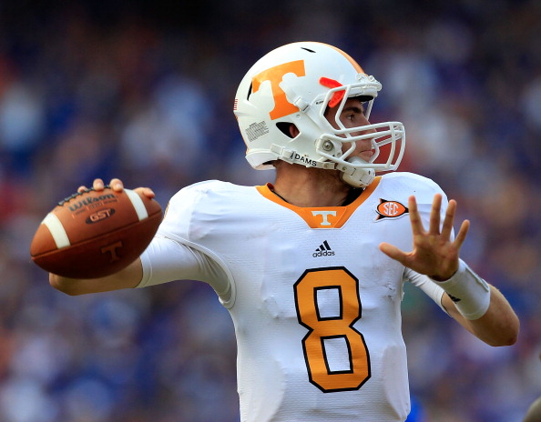 GAINESVILLE, FL - SEPTEMBER 17:  Quarterback Tyler Bray #8 of the Tennessee Volunteers attempts a pass during a game against the Florida Gators at Ben Hill Griffin Stadium on September 17, 2011 in Gainesville, Florida.  (Photo by Sam Greenwood/Getty Images)