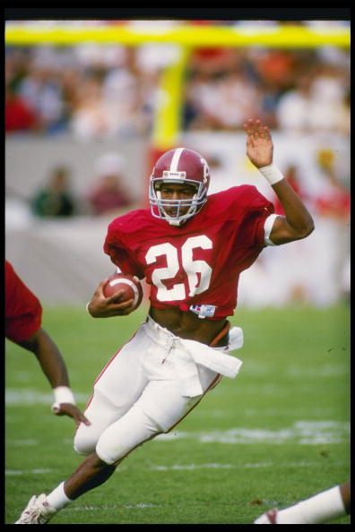 Running back Bobby Humphrey of the Alabama Crimson Tide runs down the field during a game at Bryant-Denny Stadium in Tuscawosa, Alabama.