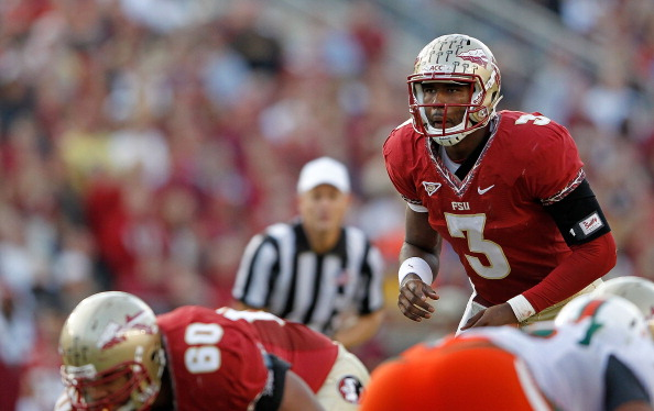 TALLAHASSEE, FL - NOVEMBER 12:  EJ Manuel #3 of the Florida State Seminoles calls a play during a game against against the Miami Hurricanes at Doak Campbell Stadium on November 12, 2011 in Tallahassee, Florida.  (Photo by Mike Ehrmann/Getty Images)