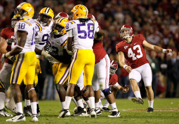 TUSCALOOSA, AL - NOVEMBER 05:  Cade Foster #43 of the Alabama Crimson Tide misses a field goal in overtime against the LSU Tigers at Bryant-Denny Stadium on November 5, 2011 in Tuscaloosa, Alabama.  (Photo by Kevin C. Cox/Getty Images)