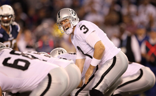 SAN DIEGO, CA - NOVEMBER 10:  Quarterback Carson Palmer #3 of the Oakland Raiders calls signals in the game with the San Diego Chargers at Qualcomm Stadium on November 10, 2011 in San Diego, California.  (Photo by Stephen Dunn/Getty Images)