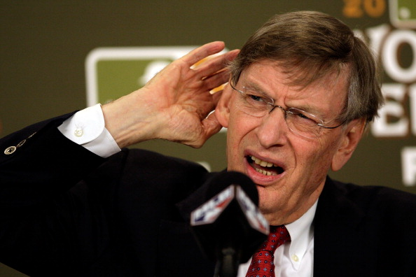 ST LOUIS, MO - OCTOBER 28:  MLB commissioner Bud Selig addresses the media prior to Game Seven of the MLB World Series between the Texas Rangers and the St. Louis Cardinals at Busch Stadium on October 28, 2011 in St Louis, Missouri.  (Photo by Jamie Squire/Getty Images)