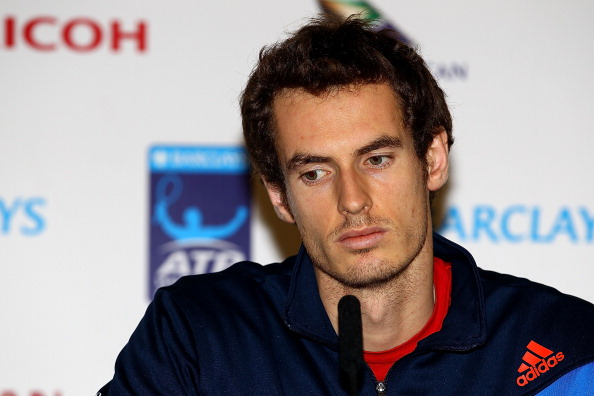 LONDON, ENGLAND - NOVEMBER 22: Andy Murray of Great Britain speaks during a press conference at the Barclays ATP World Tour Finals at the O2 Arena on November 22, 2011 in London, England. Murray announced that he has pulled out of the tournament due to an injury.      (Photo by Julian Finney/Getty Images)