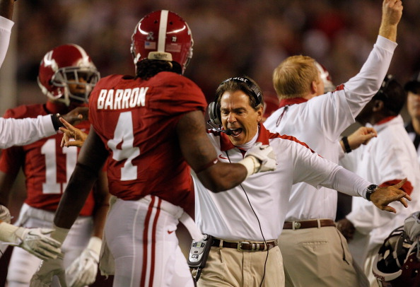 TUSCALOOSA, AL - NOVEMBER 05:  Head coach Nick Saban of the Alabama Crimson Tide  celebrates on the sideline during the first quarter against the Alabama Crimson Tide at Bryant-Denny Stadium on November 5, 2011 in Tuscaloosa, Alabama. (Photo by Streeter Lecka/Getty Images)