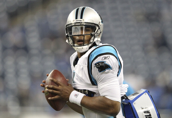 DETROIT, MI - NOVEMBER 20:  Cam Newton #1 of the Carolina Panthers warms up prior to the start of the game against the Detroit Lions at Ford Field on November 20, 2011 in Detroit, Michigan.  (Photo by Leon Halip/Getty Images)