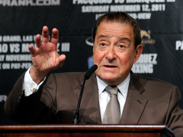 LAS VEGAS, NV - NOVEMBER 09:  Top Rank Founder and CEO Bob Arum speaks during the final news conference for the bout between boxers Manny Pacquiao and Juan Manuel Marquez at the MGM Grand Hotel/Casino November 9, 2011 in Las Vegas, Nevada. Pacquiao will defend his WBO welterweight title against Marquez when the two meet in the ring for the third time on November 12 in Las Vegas.  (Photo by Ethan Miller/Getty Images)