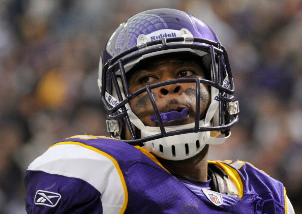 MINNEAPOLIS, MN - NOVEMBER 20: Percy Harvin #12 of the Minnesota Vikings looks on during the game against the Oakland Raiders on November 20, 2011 at Hubert H. Humphrey Metrodome in Minneapolis, Minnesota. (Photo by Hannah Foslien/Getty Images)