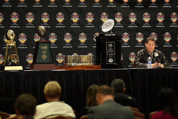 SCOTTSDALE, AZ - JANUARY 11:  Head coach Gene Chizik of the Auburn Tigers sits with the (L-R) Associated Press, Football Writers of America, MacArthur Bowl and the Coaches trophys during a press conference for the Tostitos BCS National Championship Game at the JW Marriott Camelback Inn on January 11, 2011 in Scottsdale, Arizona.  (Photo by Christian Petersen/Getty Images)
