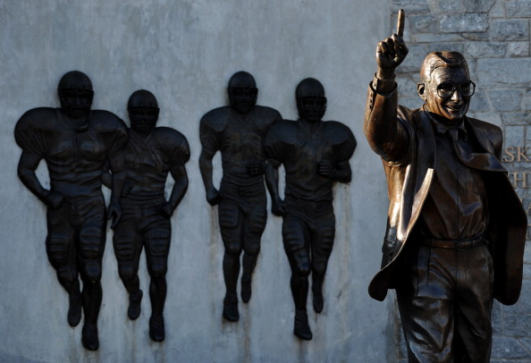 STATE COLLEGE, PA - NOVEMBER 12:  Former Penn State football coach Joe Paterno statue stands alone before the Penn State against Nebraska football game at Beaver Stadium on November 12, 2011 in State College, Pennsylvania. Head football coach Joe Paterno was fired amid allegations that former Penn State defensive coordinator Jerry Sandusky was involved with child sex abuse. Penn State is playing their final home football game against Nebraska.  (Photo by Patrick Smith/Getty Images)