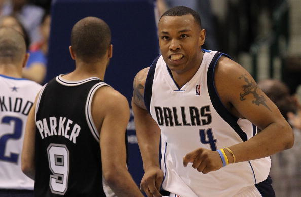 DALLAS - APRIL 27:  Forward Caron Butler #4 of the Dallas Mavericks reacts during play against the San Antonio Spurs in Game Five of the Western Conference Quarterfinals during the 2010 NBA Playoffs at American Airlines Center on April 27, 2010 in Dallas, Texas. NOTE TO USER: User expressly acknowledges and agrees that, by downloading and or using this photograph, User is consenting to the terms and conditions of the Getty Images License Agreement.  (Photo by Ronald Martinez/Getty Images)