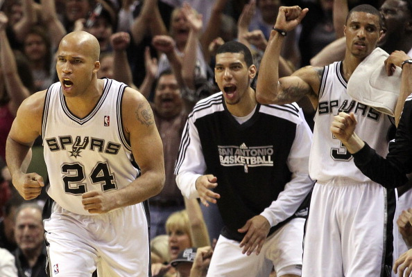 SAN ANTONIO, TX - APRIL 20:  Forward Richard Jefferson #24 of the San Antonio Spurs reacts after making a three-point shot against the Memphis Grizzlies in Game Two of the Western Conference Quarterfinals in the 2011 NBA Playoffs on April 20, 2011 at AT&T Center in San Antonio, Texas.  NOTE TO USER: User expressly acknowledges and agrees that, by downloading and or using this photograph, User is consenting to the terms and conditions of the Getty Images License Agreement.  (Photo by Ronald Martinez/Getty Images)