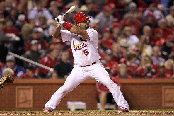 ST LOUIS, MO - OCTOBER 28: Albert Pujols #5 of the St. Louis Cardinals bats during Game Seven of the MLB World Series against the Texas Rangers at Busch Stadium on October 28, 2011 in St Louis, Missouri.  (Photo by Jamie Squire/Getty Images)