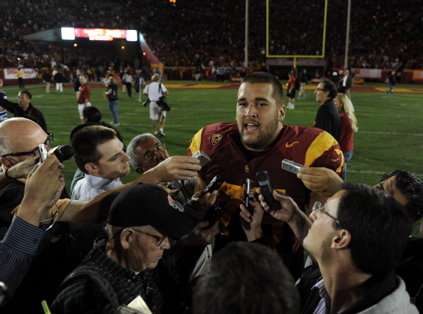 LOS ANGELES, CA - SEPTEMBER 10:  Matt Kalil #75 of the USC Trojans speaks to reporters after his blocked field goal in the final seconds of the game preserved a 17-14 win over the Utah Utes at Los Angeles Memorial Coliseum on September 10, 2011 in Los Angeles, California.  (Photo by Harry How/Getty Images)