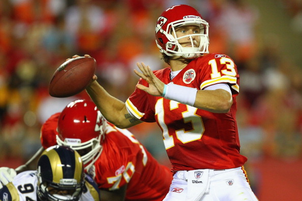 KANSAS CITY, MO - AUGUST 26: Ricky Stanzi #13 of the Kansas City Chiefs looks to pass against the St. Louis Rams during a preseason game at Arrowhead Stadium  on August 26, 2011 in Kansas City, Missouri.  The Rams beat the Chiefs 14-10.  (Photo by Dilip Vishwanat/Getty Images)