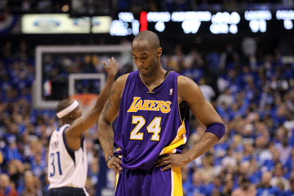 DALLAS, TX - MAY 06:  Guard Kobe Bryant #24 of the Los Angeles Lakers reacts during a 98-92 loss against the Dallas Mavericks in Game Three of the Western Conference Semifinals during the 2011 NBA Playoffs on May 6, 2011 at American Airlines Center in Dallas, Texas.  NOTE TO USER: User expressly acknowledges and agrees that, by downloading and or using this photograph, User is consenting to the terms and conditions of the Getty Images License Agreement.  (Photo by Ronald Martinez/Getty Images)