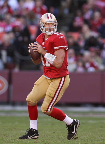 SAN FRANCISCO, CA - DECEMBER 04:  Alex Smith #11 of the San Francisco 49ers in action against the St. Louis Rams at Candlestick Park on December 4, 2011 in San Francisco, California.  (Photo by Ezra Shaw/Getty Images)
