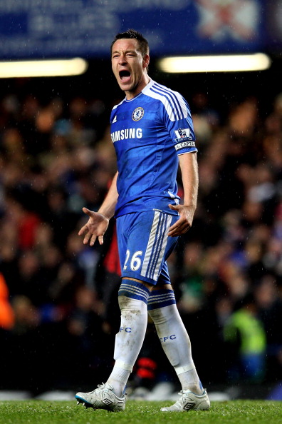 LONDON, ENGLAND - DECEMBER 12:  John Terry of Chelsea celebrates after teammate Frank Lampard scores their team's second goal during the Barclays Premier League match between Chelsea and Manchester City at Stamford Bridge on December 12, 2011 in London, England.  (Photo by Julian Finney/Getty Images)