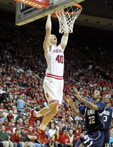 BLOOMINGTON, IN - DECEMBER 19:  Cody Zeller#40 of the Indiana Hoosiers dunks the ball during the game against the Howard Bison at Assembly Hall on December 19, 2011 in Bloomington, Indiana.  Indiana won 107-50.  (Photo by Andy Lyons/Getty Images)