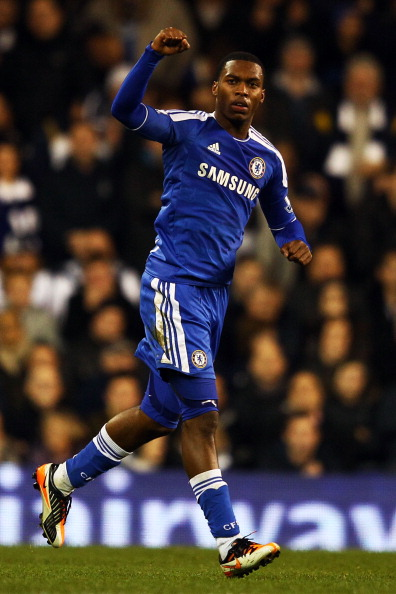 LONDON, ENGLAND - DECEMBER 22:  Daniel Sturridge of Chelsea celebrates after scoring a goal during the Barclays Premier League match between Tottenham Hotspur and Chelsea at White Hart Lane on December 22, 2011 in London, England.  (Photo by Richard Heathcote/Getty Images)