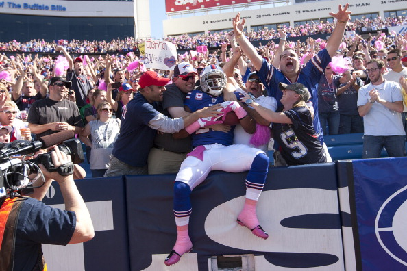 ORCHARD PARK, NY - OCTOBER 09:  Freddie Jackson #22 of the Buffalo Bills celebrates with fans after scoring a touchdown against the Philadelphia Eagles at Ralph Wilson Stadium on October 9, 2011 in Orchard Park, New York.  (Photo by Brody Wheeler/Getty Images)