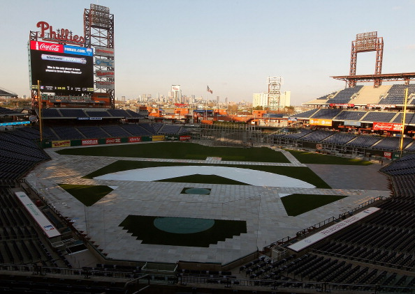 PHILADELPHIA, PA - DECEMBER 08:  Overall view of the stadium field shows the floorboards are already down on the baseball field at Citizens Bank Park on December 8, 2011 in Philadelphia, Pennsylvania in preparation for the upcoming 2012 Winter Classic.  (Photo by Paul Bereswill/Getty Images)