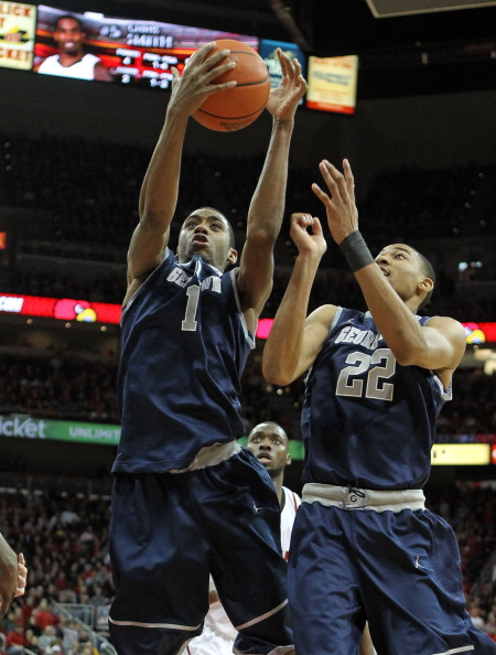 LOUISVILLE, KY - DECEMBER 28:  Hollis Thompson and Otto Porter #22 of the Georgetown Hoyas reach for a rebound during the Big East conference game against the Louisville Cardinals at KFC YUM! Center on December 28, 2011 in Louisville, Kentucky.  (Photo by Andy Lyons/Getty Images)