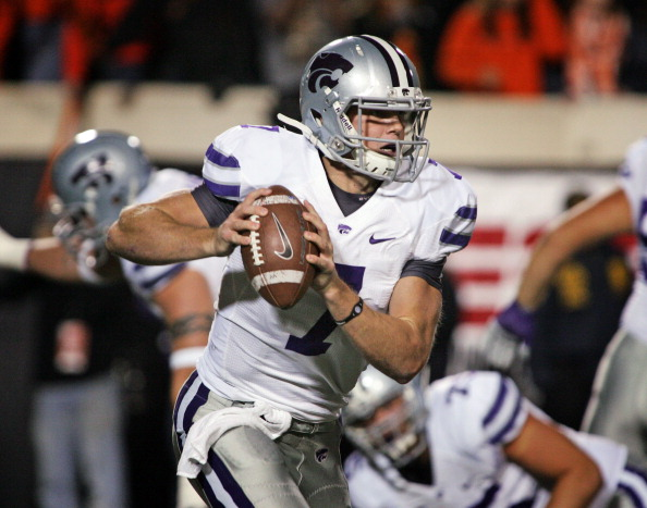 STILLWATER, OK - NOVEMBER 5:  Quarterback Collin Klein #7 of the Kansas State Wildcats scrambles in the first half against the Oklahoma State Cowboys on November 5, 2011 at Boone Pickens Stadium in Stillwater, Oklahoma.  Oklahoma State defeated Kansas State 52-45.  (Photo by Brett Deering/Getty Images)