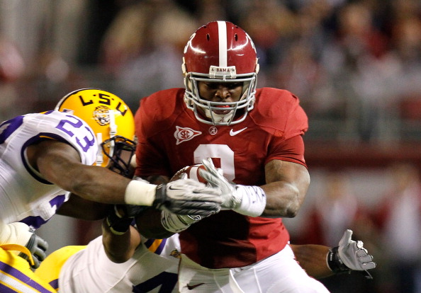 TUSCALOOSA, AL - NOVEMBER 05:  Trent Richardson #3 of the Alabama Crimson Tide against Stefoin Francois #23 of the LSU Tigers at Bryant-Denny Stadium on November 5, 2011 in Tuscaloosa, Alabama.  (Photo by Kevin C. Cox/Getty Images)