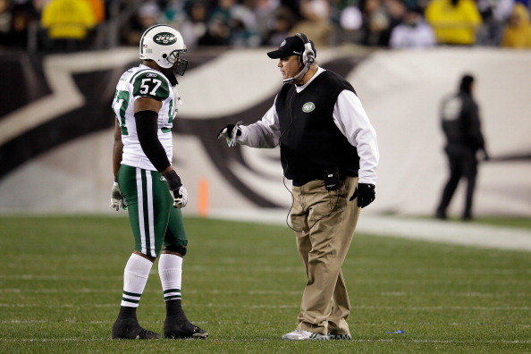 PHILADELPHIA, PA - DECEMBER 18:  Bart Scott #57 of the New York Jets talks with head coach Rex Ryan during the second half against the Philadelphia Eagles at Lincoln Financial Field on December 18, 2011 in Philadelphia, Pennsylvania.  (Photo by Rob Carr/Getty Images)