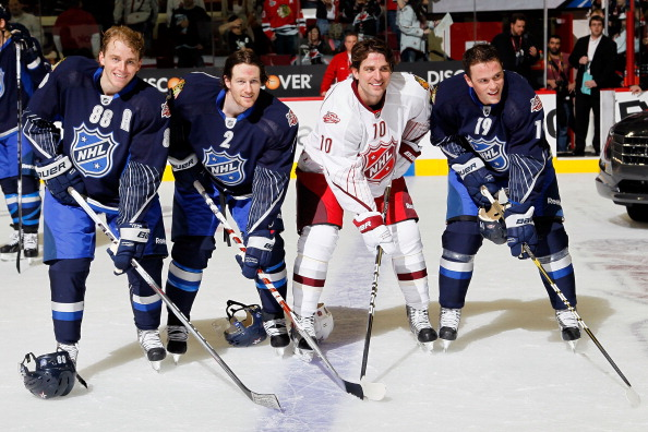 RALEIGH, NC - JANUARY 30:  Patrick Kane #88, Duncan Keith #2, Patrick Sharp #10 and Jonathan Toews #19 of the Chicago Blackhawks pose after Team Lidstrom defeated Team Staal 11 to 10 in the 58th NHL All-Star Game at RBC Center on January 30, 2011 in Raleigh, North Carolina.  (Photo by Kevin C. Cox/Getty Images)