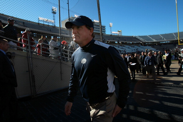 DALLAS, TX - JANUARY 02:  Interim head coach Tom Bradley of the Penn State Nittany Lions walks off the field after a 30-14 loss against the Houston Cougars during the TicketCity Bowl at Cotton Bowl Stadium on January 2, 2012 in Dallas, Texas.  (Photo by Ronald Martinez/Getty Images)