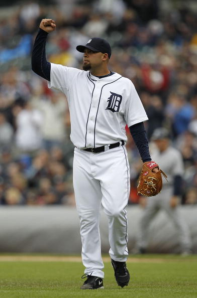 DETROIT - MAY 13: Joel Zumaya #54 of the Detroit Tigers fist pumps in celebration the final out in the eighth inning as the Tigers defeated the New York Yankees 6-0 on May 13, 2010 at Comerica Park in Detroit, Michigan. (Photo by Leon Halip/Getty Images)