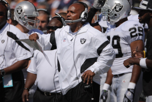 ORCHARD PARK, NY - SEPTEMBER 18:: Head coach Hue Jackson of the Oakland Raiders during their NFL game against the Buffalo Bills at Ralph Wilson Stadium on September 18, 2011 in Orchard Park, New York. (Photo by Tom Szczerbowski/Getty Images)