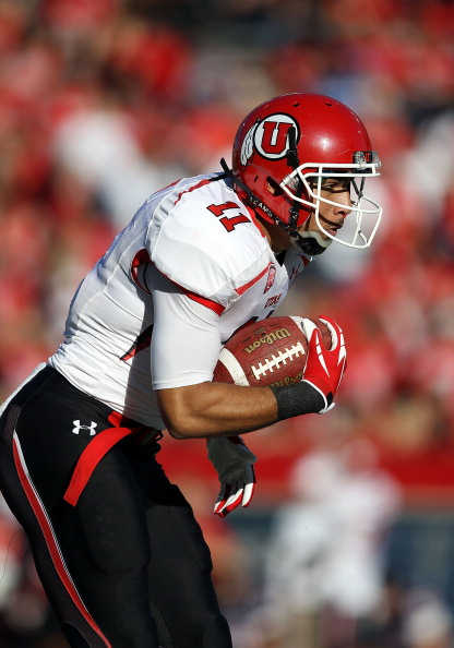 TUCSON, AZ - NOVEMBER 05:  Wide receiver Luke Matthews #11 of the Utah Utes during the college football game against the Arizona Wildcats at Arizona Stadium on November 5, 2011 in Tucson, Arizona.  The Utes defeated the Wildcats 34-21.  (Photo by Christian Petersen/Getty Images)