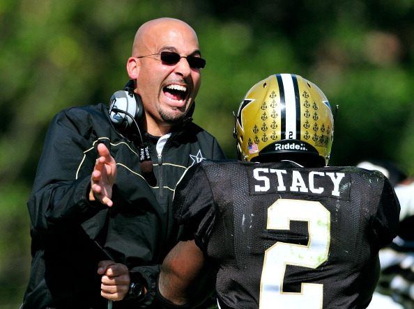 NASHVILLE, TN - OCTOBER 29:  Coach James Franklin and Zac Stacy #2 of the Vanderbilt Commodores celebrate after Stacy's touchdown against the Arkansas Razorbacks during play at Vanderbilt Stadium on October 29, 2011 in Nashville, Tennessee. Arkansas won 31-28.  (Photo by Grant Halverson/Getty Images)