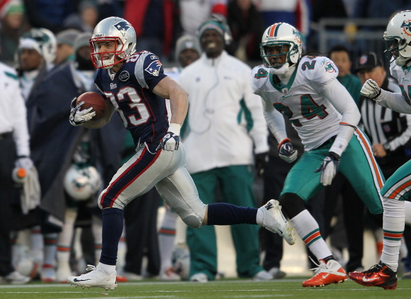 FOXBORO, MA - DECEMBER 24:   Wes Welker #83 of the New England Patriots runs during a game against the Miami Dolphins at Gillette Stadium on December 24, 2011 in Foxboro, Massachusetts. (Photo by Jim Rogash/Getty Images)