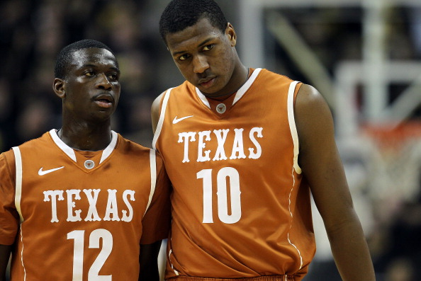 COLUMBIA, MO - JANUARY 14:  Myck Kabongo #12 and Jonathan Holmes #10 of the Texas Longhorns walk onto the court after a timeout during the game against the Missouri Tigers on January 14, 2012 at Mizzou Arena in Columbia, Missouri.  (Photo by Jamie Squire/Getty Images)