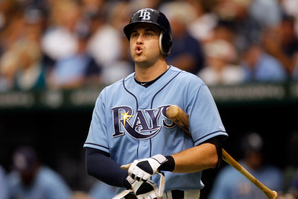 ST PETERSBURG, FL - OCTOBER 04:  Evan Longoria #3 of the Tampa Bay Rays reacts while at bat against the Texas Rangers in Game Four of the American League Division Series at Tropicana Field on October 4, 2011 in St Petersburg, Florida.  (Photo by Mike Ehrmann/Getty Images)