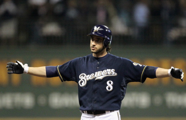 MILWAUKEE, WI - OCTOBER 10:  Ryan Braun #8 of the Milwaukee Brewers reacts after he hit a grond rule double against the St. Louis Cardinals during Game Two of the National League Championship Series at Miller Park on October 10, 2011 in Milwaukee, Wisconsin.  (Photo by Jonathan Daniel/Getty Images)