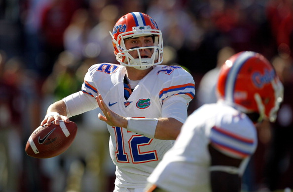 COLUMBIA, SC - NOVEMBER 12:  John Brantley #12 of the Florida Gators drops back to pass against the South Carolina Gamecocks during their game at Williams-Brice Stadium on November 12, 2011 in Columbia, South Carolina.  (Photo by Streeter Lecka/Getty Images)