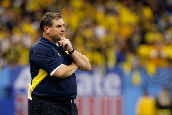 NEW ORLEANS, LA - JANUARY 03:  Head coach Brady Hoke of the Michigan Wolverines looks on against the Virginia Tech Hokies during the Allstate Sugar Bowl at Mercedes-Benz Superdome on January 3, 2012 in New Orleans, Louisiana.  (Photo by Kevin C. Cox/Getty Images)
