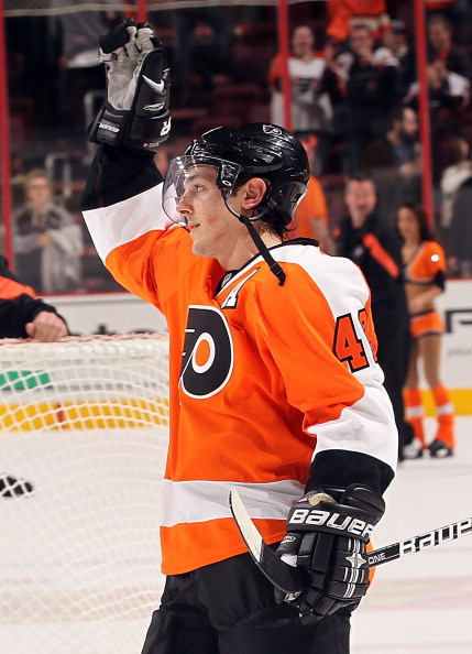 PHILADELPHIA, PA - JANUARY 07:  Danny Briere #48 of the Philadelphia Flyers waves to the crowd after scoring the game winning goal in overtime and a hat trick against the Ottawa Senators at Wells Fargo Center on January 7, 2012 in Philadelphia, Pennsylvania.  (Photo by Nick Laham/Getty Images)