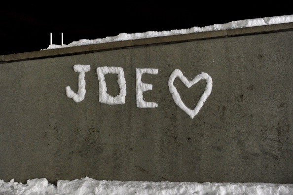 STATE COLLEGE, PA - JANUARY 22: A sign made of snow adorns a wall near the statue of Joe Paterno, the former Penn State football coach, outside of Beaver Stadium in the early hours of January 22, 2012 in State College, Pennsylvania. The community was reacting to news that Joe Paterno, who is suffering from lung cancer and who was fired in November in the aftermath of child sex abuse charges against a former assistant, was in serious condition. (Photo by Patrick Smith/Getty Images)