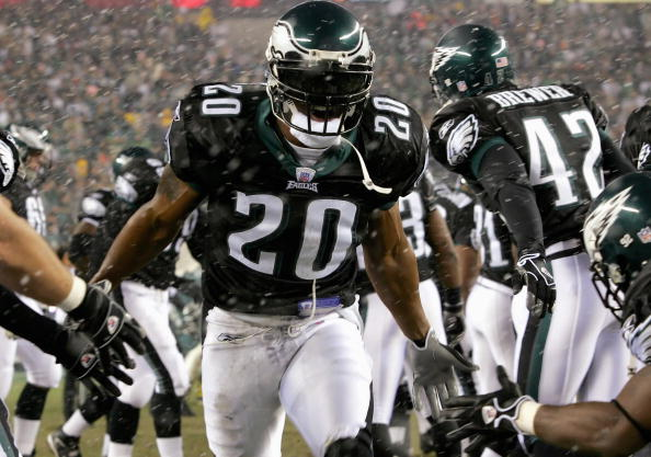 PHILADELPHIA - DECEMBER 05:  Brian Dawkins #20 of the Philadelphia Eagles celebrates during the game against the Seattle Seahawks on December 5, 2005 at Lincoln Financial Field in Philadelphia, Pennsylvannia. The Seahawks won 42-0. (Photo by Jamie Squire/Getty Images)