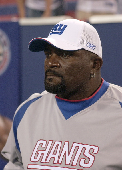 New York Giants line backer # 56 Lawrence Taylor 10 Pro Bowls (1981-90); retired after 1993 season with 1321/2 sacks inducted into Hall of Fame in 1999. on the field prior to the game during the Indianapolis Colts vs New York Giants game on September 10, 2006 at the Giants Stadium  in East Rutherford NJ, The Colts won over the Giants by the score of 26 to 21. (Photo by Tom Berg/NFLPhotoLibrary)