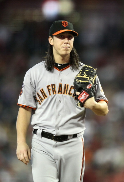 PHOENIX, AZ - SEPTEMBER 25:  Starting pitcher Tim Lincecum #55 of the San Francisco Giants during the Major League Baseball game against the Arizona Diamondbacks at Chase Field on September 25, 2011 in Phoenix, Arizona. The Diamondbacks defeated Giants 5-2.  (Photo by Christian Petersen/Getty Images)