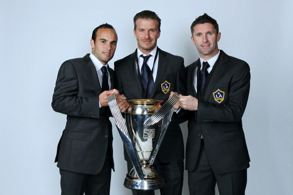 CARSON, CA - NOVEMBER 20:  (L-R) Landon Donovan #10, David Beckham #23 and Robbie Keane #14 of the Los Angeles Galaxy pose for a portrait following the 2011 MLS Cup at The Home Depot Center on November 20, 2011 in Carson, California.  (Photo by Jeff Gross/Getty Images)