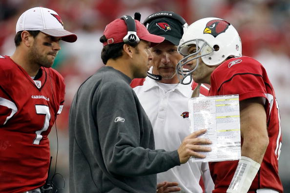 GLENDALE, AZ - JANUARY 18:  (2nd left) Offensive Coordinator Todd Haley of the Arizona Cardinals and (M) head coach Ken Whisenhunt talks with (R) quarterback Kurt Warner #13 as (L) quarterback Matt Leinart #7 stands behind and watches against the Philadelphia Eagles during the NFC championship game on January 18, 2009 at University of Phoenix Stadium in Glendale, Arizona.  (Photo by Jamie Squire/Getty Images)