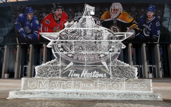 OTTAWA, ON - JANUARY 29:  A general view of the exterior of an ice sculpture seen in front of the arena during the 2012 NHL Tim Hortons NHL All-Star Game at Scotiabank Place on January 29, 2012 in Ottawa, Ontario, Canada.  (Photo by Christian Petersen/Getty Images)